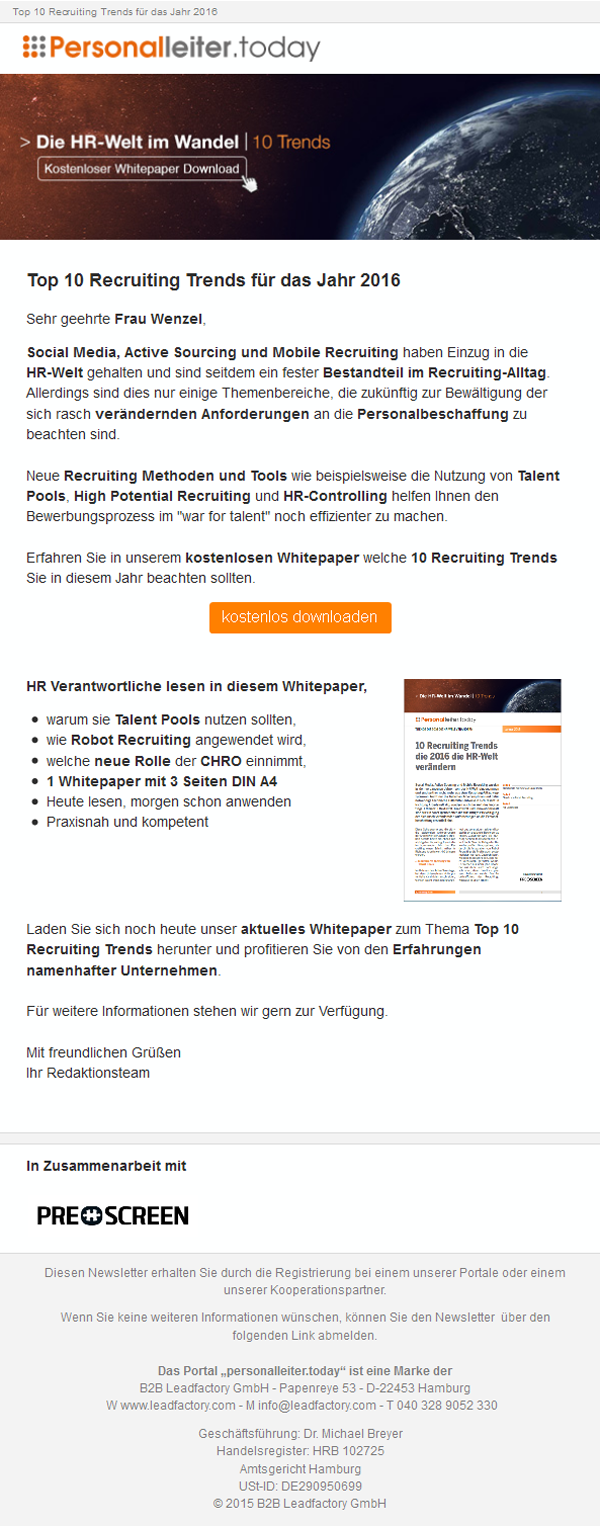"""Kampagne_Mailing_Prescreen_Bewerbermanagementsystem - """"Wie Sie einfach und schnell die besten Bewerber für sich gewinnen"""""""