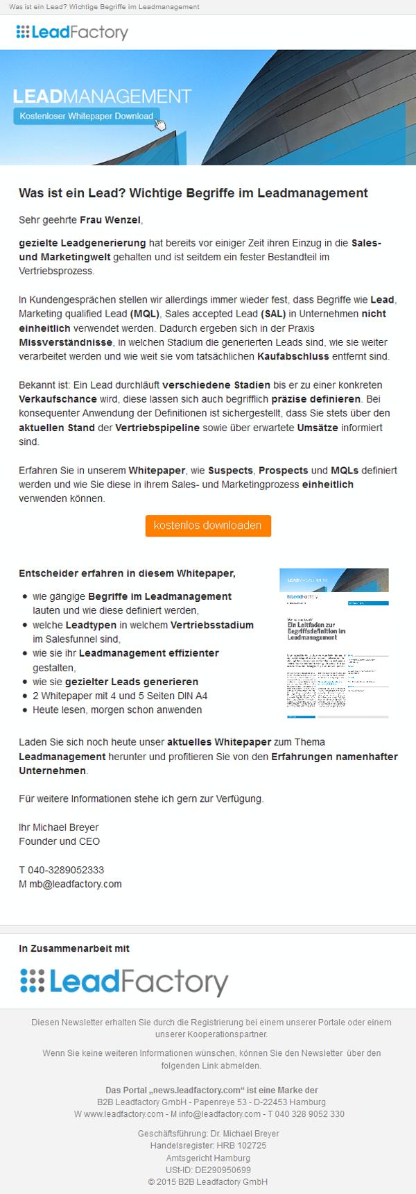 Mailing_intern_Was ist ein Lead? Begriffsdefinition im Leadmanagement