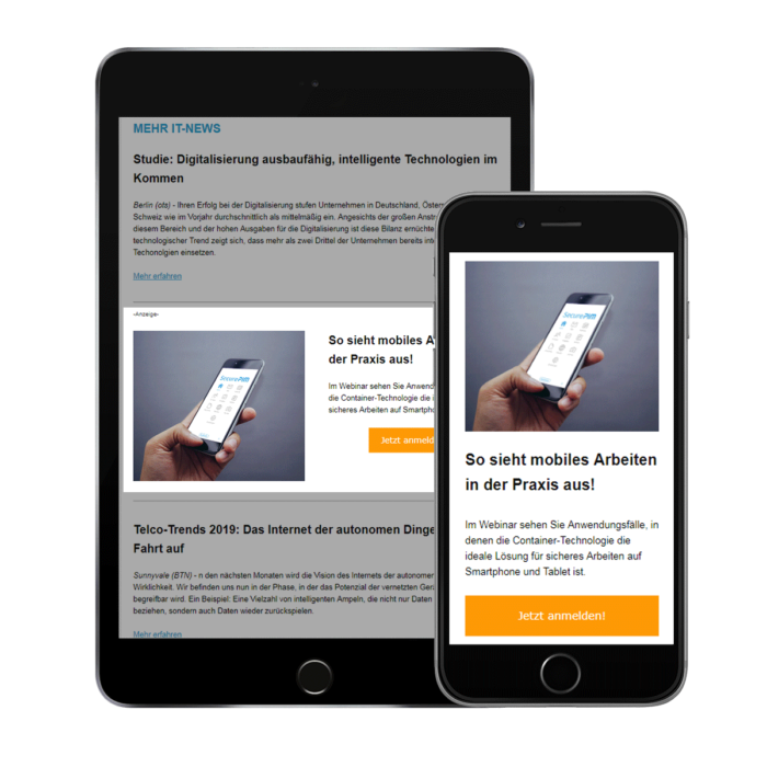 Newsletter native ad in the example