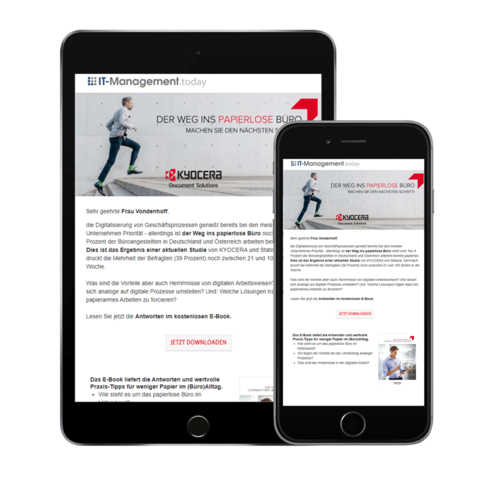 Standalone mailing, vertical e-mailing
