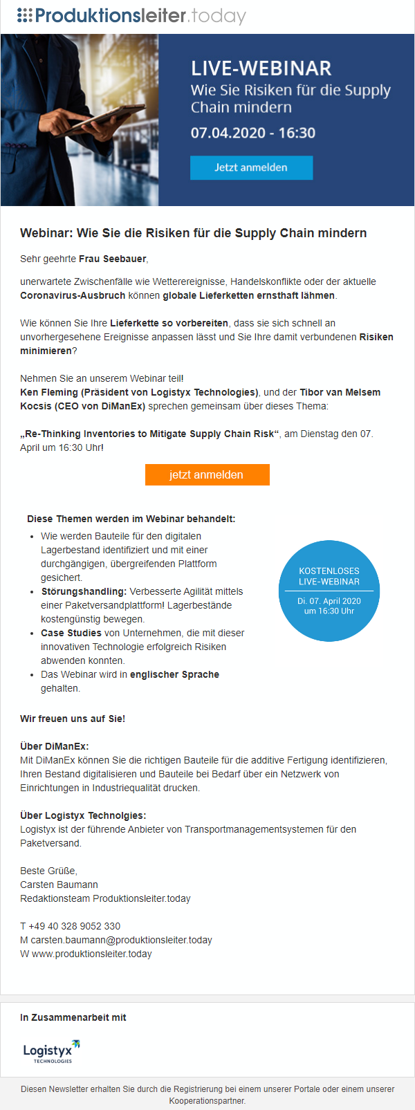 Referenzmailing Supply Chain Logystix