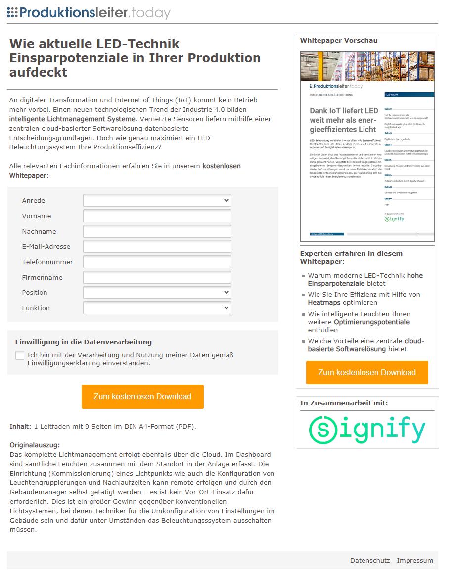 Referenzkampagne_Landingpage_Philips_Wie aktuelle LED-Technik Einsparpotenziale in Ihrer Produktion aufdeckt